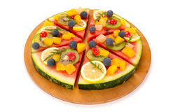 Watermelon fruit pizza Royalty Free Stock Photo