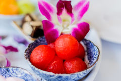 Watermelon Fruit Salad Fresh and Ripe Watermelon Balls in cup Royalty Free Stock Images