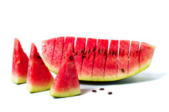 Watermelon fruit slice isolated on white Royalty Free Stock Images