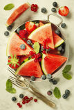 Watermelon, fruits, berries and mint leaves. Summer fruit concep Stock Photography