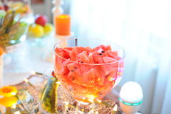 Watermelon wedding mixed fruits table. Fruits wedding table with Watermelon stock image