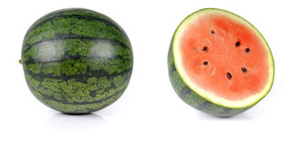 Watermelon full ball and cut half on white background. Stock Photography