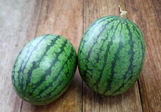 Watermelon full put on wood Royalty Free Stock Images