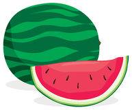 Watermelon. Full and sliced watermelon in solid colors Stock Image