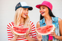 Watermelon fun. Stock Photos