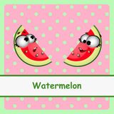 Watermelon, funny characters on pink background Stock Photography