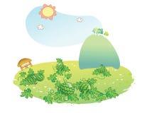 Watermelon garden. Cartoon in summer Royalty Free Stock Images