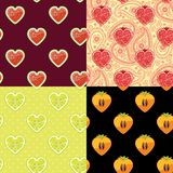 Watermelon,garnet,persimmon,lemon.Set of Fruit seamless pattern Stock Photos