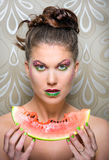 Watermelon girl Stock Photography