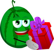 Watermelon giving you a gift box Royalty Free Stock Photography