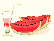 Watermelon and a glass of cocktail Stock Photography