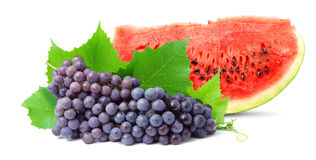Watermelon and grape. Colorful healthy fresh fruit. Shot in a studio Royalty Free Stock Photo