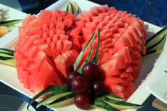 Watermelon and grape fruit. Peeled watermelon and grape fruit Royalty Free Stock Photo