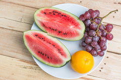 Watermelon grape and orange Royalty Free Stock Images