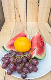 Watermelon grape and orange Stock Image