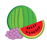 Watermelon and grapes Royalty Free Stock Photos