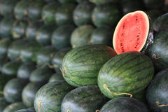 Watermelon group in market Stock Images