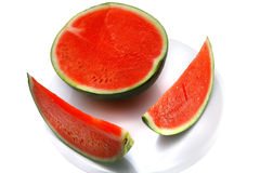 Watermelon half and slices Stock Photo