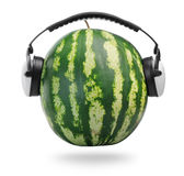 Watermelon in headphones Stock Photo