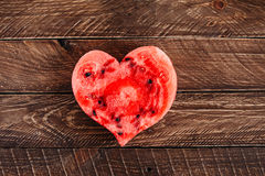 Watermelon heart. Healthy foods, fresh fruits, sweet heart, fragrant watermelon, favorite dessert royalty free stock photography