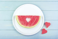 Watermelon. With heart-shaped pieces Royalty Free Stock Images