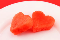 Watermelon hearts Stock Photo