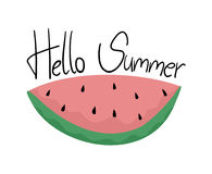 Watermelon with hello summer message Stock Images