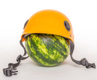 Watermelon in a helmet Royalty Free Stock Photography