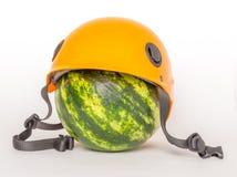 Watermelon in a helmet Royalty Free Stock Photos