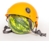 Watermelon in a helmet Stock Photo