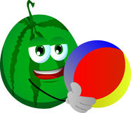 Watermelon holding a beach ball Royalty Free Stock Photo