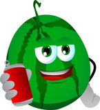 Watermelon holding beer or soda can Royalty Free Stock Photos