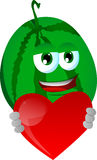 Watermelon holding a big red heart Royalty Free Stock Photo