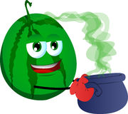 Watermelon holding cauldron with potion Royalty Free Stock Photography
