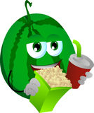 Watermelon holding popcorn and soft drink Stock Photography