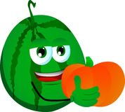 Watermelon holding pumpkin Royalty Free Stock Images