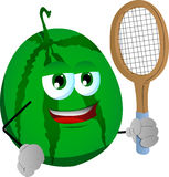 Watermelon holding a tennis rocket Royalty Free Stock Images