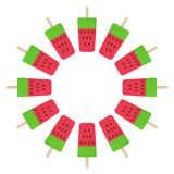 Watermelon ice cream circle stock illustration