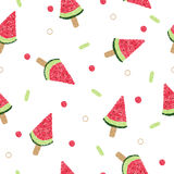 Watermelon ice cream on stick seamless pattern Royalty Free Stock Photos