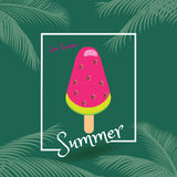 Watermelon ice cream tropical. Summer Vacation Holiday poster. Tropical palm tree leaves, ice cream lolly, watermelon ice cream popsicle, Exotic background Royalty Free Stock Images