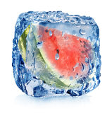 Watermelon in ice cube Royalty Free Stock Photos