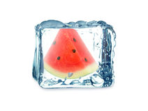 Watermelon and ice cube Royalty Free Stock Photo