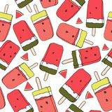 Watermelon ice lolly seamless pattern. Vector. Summer theme. royalty free illustration