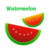 Watermelon icon. Cute red watermelon slide. Stock Photography