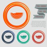 Watermelon icon on the red, blue, green, orange buttons for your website and design with space text. Illustration Royalty Free Stock Photography