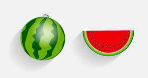 Watermelon Icons with Long Shadows Vector Royalty Free Stock Photos