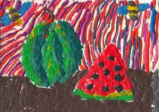 Watermelon illustration from plasticine Royalty Free Stock Image