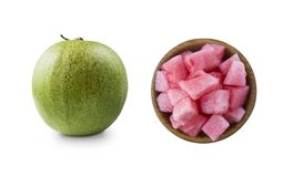 Free Watermelon Isolated On White Background. Watermelon Slices On A Wooden Bowl. Sweet And Juicy Fruit With Copy Space For Text. Royalty Free Stock Photo - 149197365
