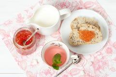 Watermelon Jam, Herbal Tea, Marshmallows. White Wooden Table. Stock Photos