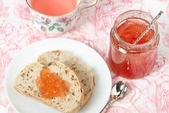 Watermelon Jam, Herbal Tea, Marshmallows. White Wooden Table. Royalty Free Stock Photography